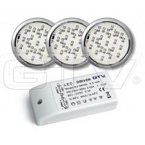 Zestaw 3szt opraw halogenowych LED LUGO biały zimny